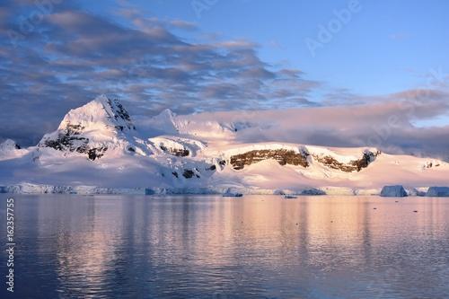 Views of the Gerlache Strait in Antarctica at dusk (Antarctic sunset)
