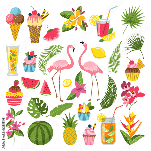 Summer time labels set for tropical party. Different icons in flat style. Drinks, watermelon, lemonade and flamingo - 162358193