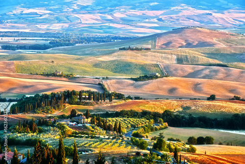 Landscape view of Val d'Orcia, Tuscany, Italy