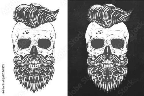 Retro skull with wings in vintage style vector Poster