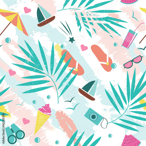 Cotton fabric Summer time vector seamless pattern with colorful beach elements isolated on white background. Summer background print.