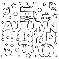 Black and white vector illustration. Coloring page. Autumn.