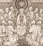 BRATISLAVA, SLOVAKIA, NOVEMBER - 21, 2016: The lithography of The Pentecost in Missale Romanum by unknown artist with the initials F.M.S  (1889) and printed by Typis Friderici Pustet. - 162368524