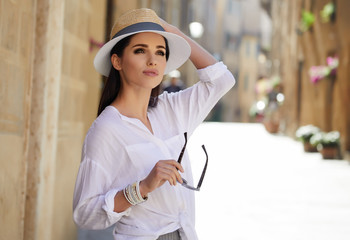 Beautiful tourist in Italy. old town concept