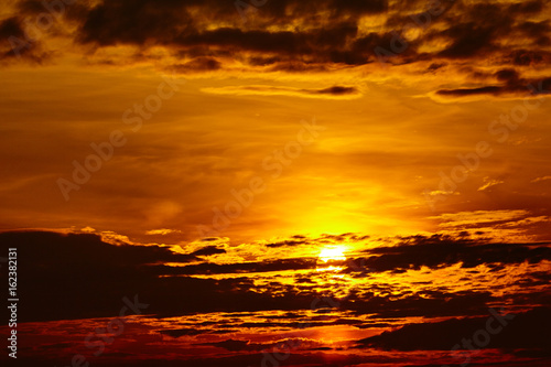 sunset sky background. Fiery orange sunset