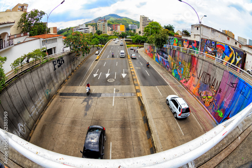 Fisheye view of a highway in Cali, Colombia. - 162383969