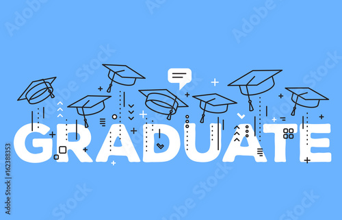 vector illustration of word graduation with graduate caps on a blue