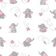 Cute cartoon elephants and butterflies seamless vector pattern. Baby print. - 162390533