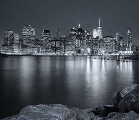 Black and white picture of New York City night skyline, USA.