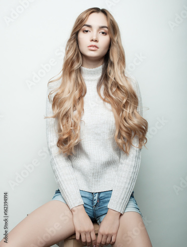 Poster lifestyle, fashion and people concept: beautiful woman wearing casual clothes, p