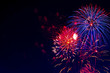 Beautiful colorful fireworks on sky. Fireworks display on dark sky background. Independence Day, 4th of July, Fourth of July or New Year