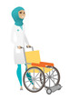 Muslim female doctor pushing wheelchair isolated on white background.