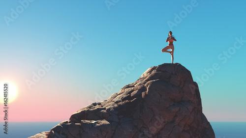 The young woman doing yoga