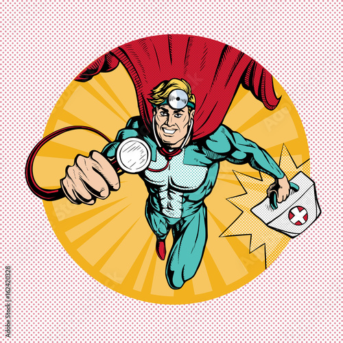 Doctor super hero flies to treat people. Profession white coat stethoscope pop art retro style.