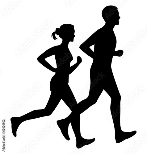 Running man and woman black silhouette isolated vector illustration. Running couple, jogging couple.