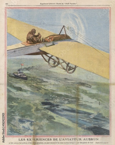 Poster Emile Aubrun spotting submarines from his aeroplane. Date: 1911