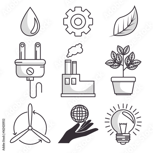 set of enviromental recycle ecology icon vector illustration graphic design