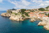 A view from the old town walls of Dubrovnik, Croatia.  Includes the St Lawrence Fortress. - 162434579