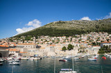 A view from the old town walls of the old harbour of Dubrovnik, Croatia. - 162439378