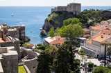 A view from the old town walls of Dubrovnik, Croatia.  Includes the St Lawrence Fortress. - 162440527