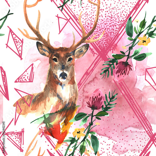 watercolor illustration deer - 162442341
