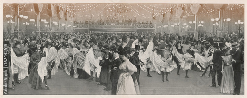Ball at the Moulin Rouge club in Paris. Date: 1898 - 162442519