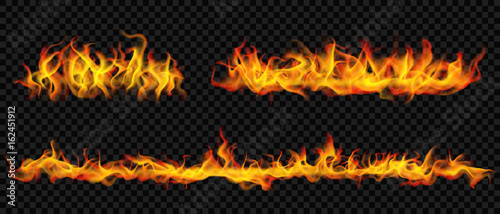 Long horizontal fire flame. Transparency only in vector format
