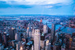 Aerial view of downtown Manhattan and Financial District at dusk.  - 162452785