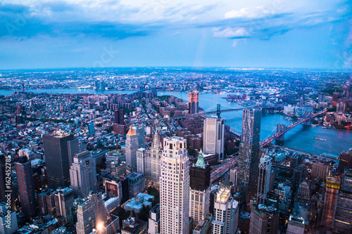 Aerial view of downtown Manhattan and Financial District at dusk Poster