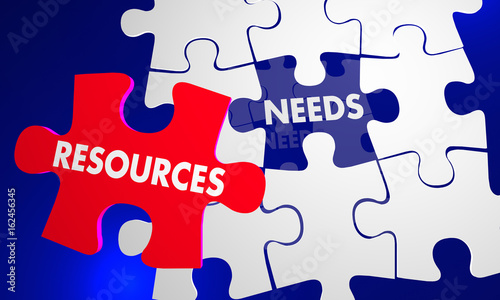 Resources Needs Puzzle Pieces Fill Hole 3d Illustration