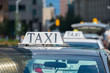 Close up of a taxi roof sign in Toronto, Canada