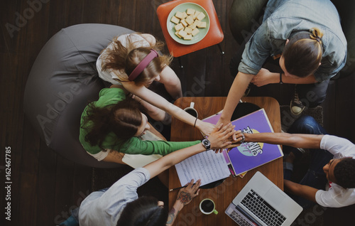 Diverse Group Young People Hands Pile Concept