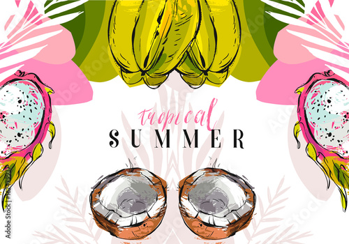 Hand drawn vector abstract unusual freehand textured tropical summer background with exotic fruits isolated on white - 162479937