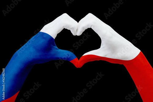 Hands flag of Czech republic, shape a heart Poster