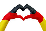 Hands flag of Germany, shape a heart. Concept of country symbol, isolated on white. - 162482316