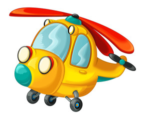 Cartoon happy and funny helicopter - illustration for children