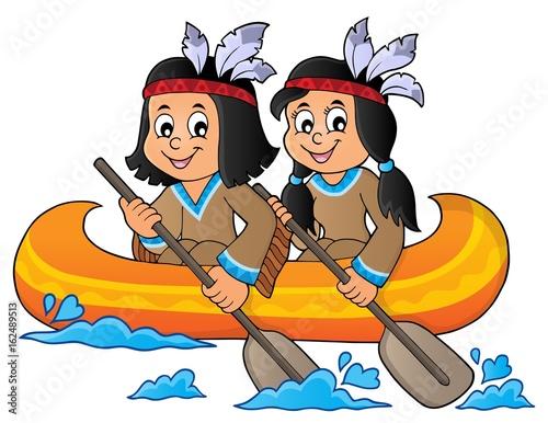 Native American children in boat theme 1