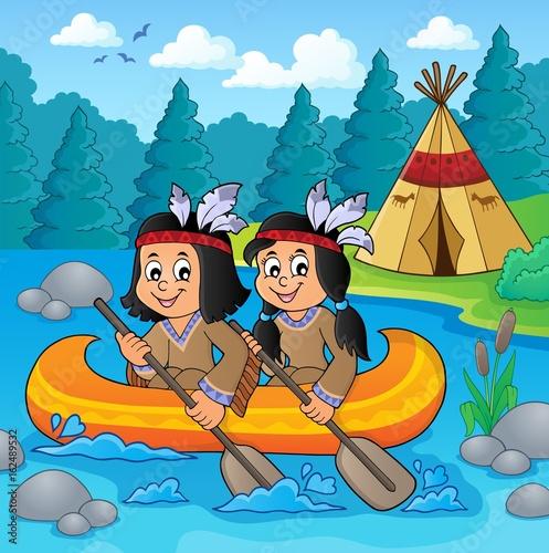 Native American children in boat theme 2