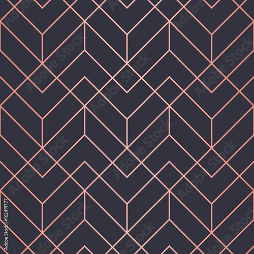Geometric pattern consisting of lines. Trendy Copper Metallic look. - 162491777