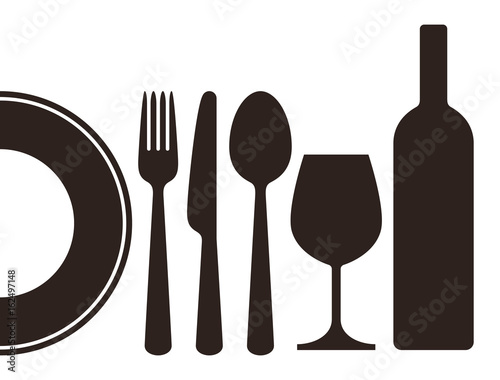 Bottle, wineglass, plate, knife, fork and spoon