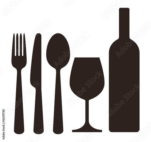Bottle, wineglass, knife, fork and spoon