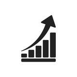 Growth chart icon. Grow diagram flat vector illustration. Business concept. - 162497332