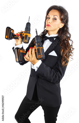 Bond Frau mit Akku Bohr- Schrauber плакат