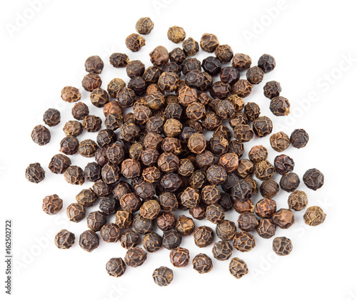 Peppercorn isolated on white background. Dry black pepper seeds. Top view. - 162502722