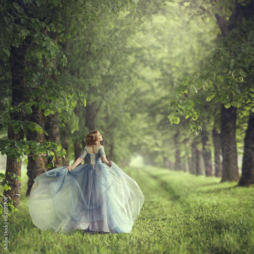 Plakat Back view of standing young beautiful blonde woman in blue dress