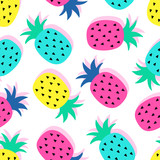 Fototapety Vector seamless pineapple fruit crazy colors pattern. Very bright colorful cute cartoon background (wallpaper, fabric). Childish style, abstract pop art