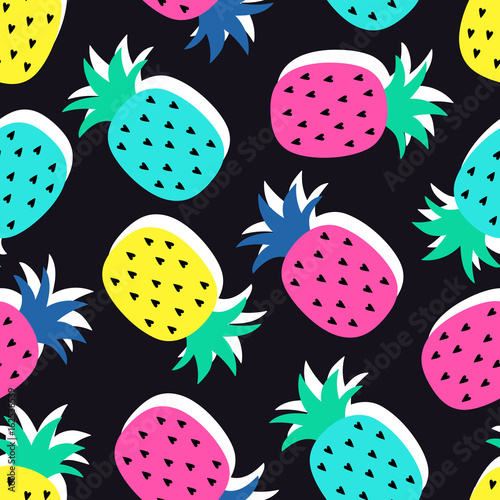 Vector seamless pineapple fruit crazy colors pattern. Very bright colorful cute cartoon background (wallpaper, fabric). Childish style, abstract pop art - 162538539