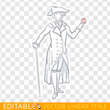 Scientist Newton. Middle social class in medieval Europe. Editable line sketch. Stock vector illustration.