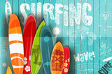 Surfing Retro Poster on Blue Wooden Background - 162553375