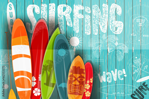 Fototapeta Surfing Retro Poster on Blue Wooden Background